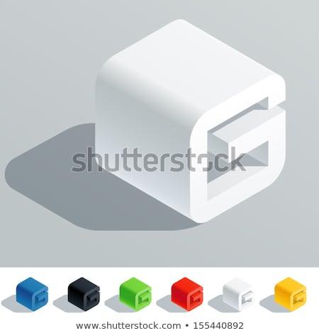White cube, pixel font Letter G 3D Stock photo © djmilic