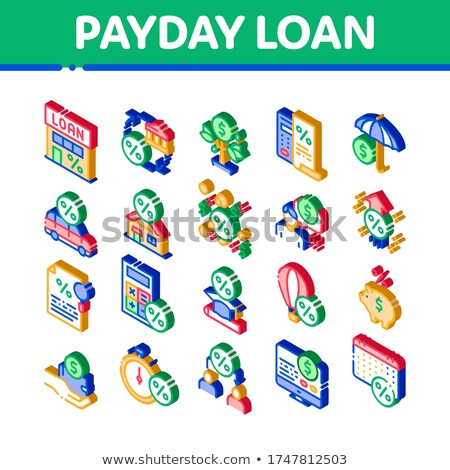 Payday Loan Isometric Elements Icons Set Vector Stock photo © pikepicture