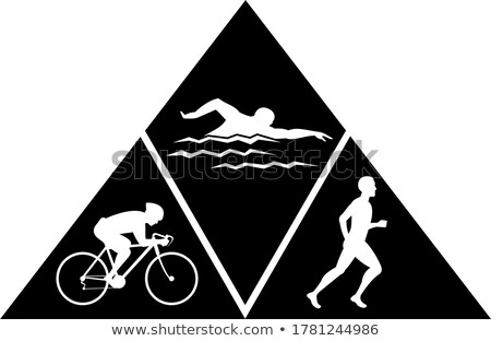 Triathlon Sport Running Swimming and Cycling Triangle Black and White Stock photo © patrimonio