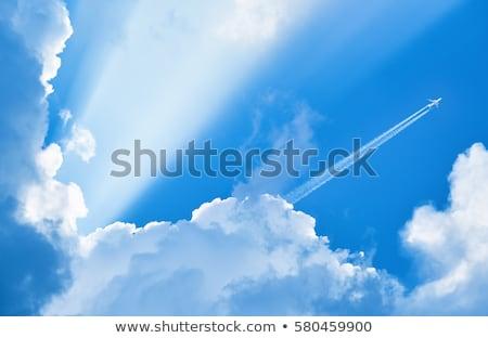 blue · sky · condensação · trilha · aeronave · luz · mundo - foto stock © sahua