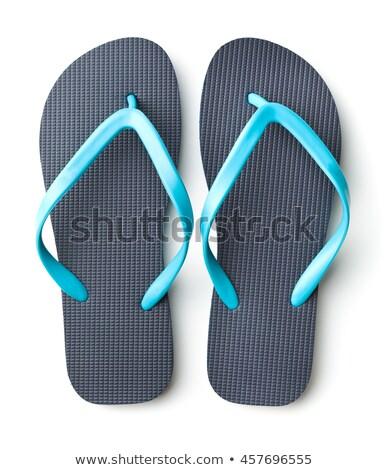 pair of blue flip-flops isolated on a white background Stock photo © tetkoren