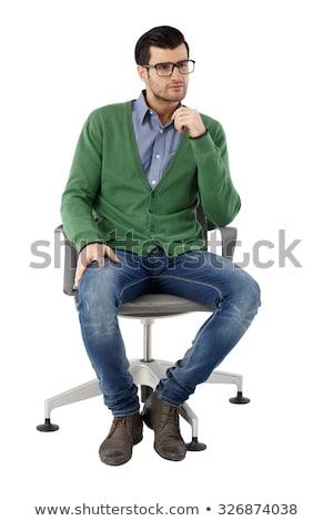 Empresario gafas silla oficina mano trabajo Foto stock © Paha_L