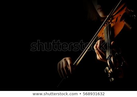 hegedűművész · fekete · lány · fehér · ruha · arc · nők - stock fotó © zybr78
