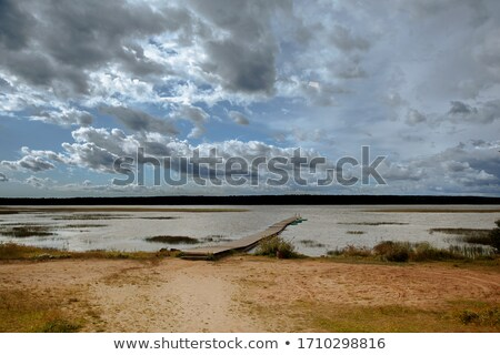 Stock fotó: Falu · part · folyó · természet · otthon · hó