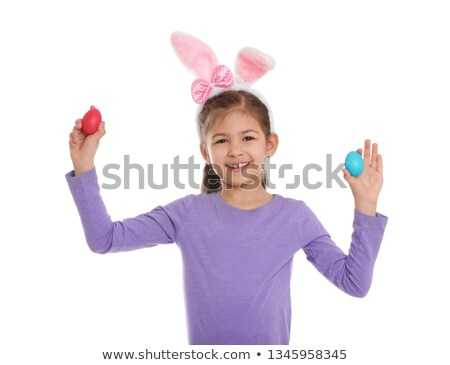 Portrait of girl with bunny ears headband,  isolated on white ba Stock photo © dacasdo