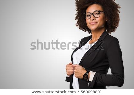 fiatal · üzletasszony · alma · vonzó · eszik · zöld - stock fotó © hasloo
