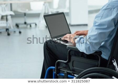 Empresario silla de ruedas ordenador portátil negocios reunión portátil Foto stock © photography33