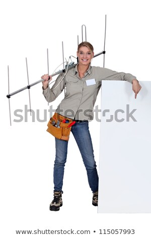 woman holding tv antenna with white sign stock photo © photography33