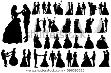 Menyasszonyok sziluettek három esküvői ceremónia esküvő szeretet Stock fotó © Vg