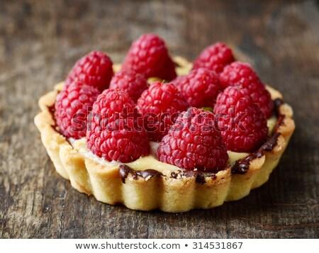 Málna torta gyümölcs friss krém édes Stock fotó © elly_l