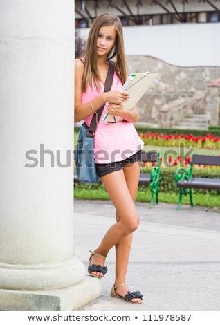 Zdjęcia stock: Przepiękny · młodych · brunetka · student · dziewczyna · odkryty