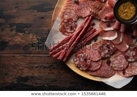 prato · salame · carne · tabela - foto stock © ozaiachin