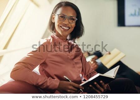 Afroamerikai üzletasszony tervező toll háttér lányok Stock fotó © photography33