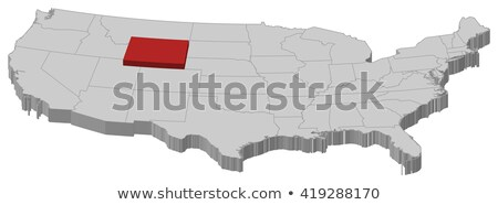 Wyoming Red Abstract 3D State Map United States America Stock photo © iqoncept