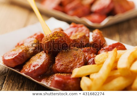 curry wurst spicy sausage with curry and ketchup Stock photo © juniart