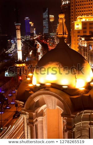 Old Weather Station Cupola Shanghai Bund at Night Stock photo © billperry
