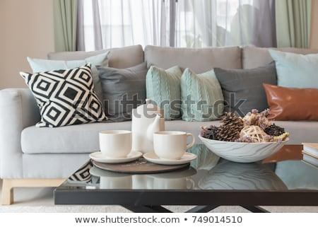 Tea szett kényelmes társalgó háttér szoba Stock fotó © HASLOO