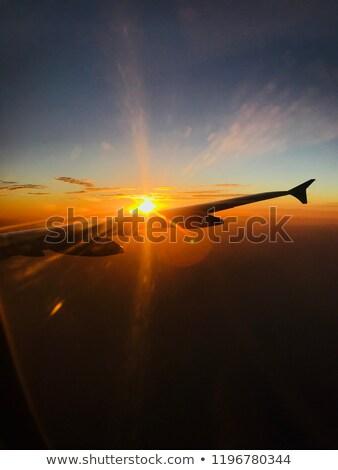 samolot · wygaśnięcia · świetle · piękna · mętny · niebo - zdjęcia stock © lunamarina