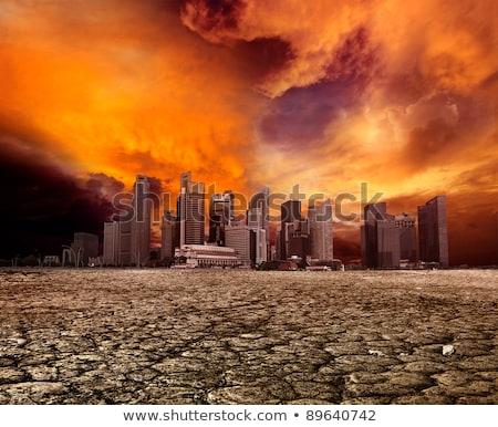 seca · terra · noite · pôr · do · sol · aquecimento · global · água - foto stock © leungchopan