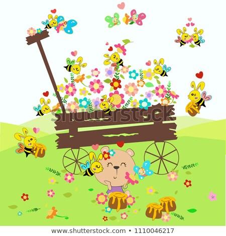 wooden wedding cart with green flower heart stock photo © bertl123