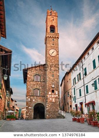 Toszkána · kilátás · város · kastély · Olaszország · bor - stock fotó © anshar