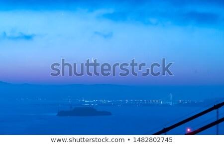 Moon Over Golden Gate Bridge San Francisco City Skyline Sunset Stock photo © cboswell