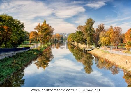 Kanał rzeki wody streszczenie statku jesienią Zdjęcia stock © CaptureLight