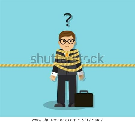 Stock photo: Businessman tied up with rope on white