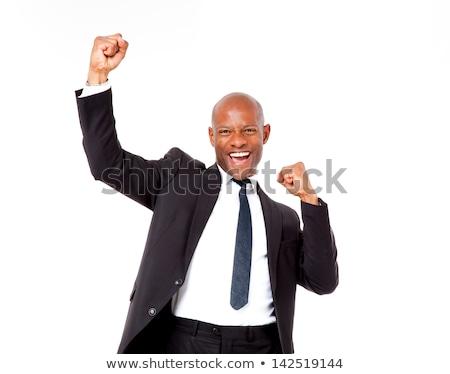 Afrikai férfi ököl boldog fiatal izmok Stock fotó © AndreyPopov