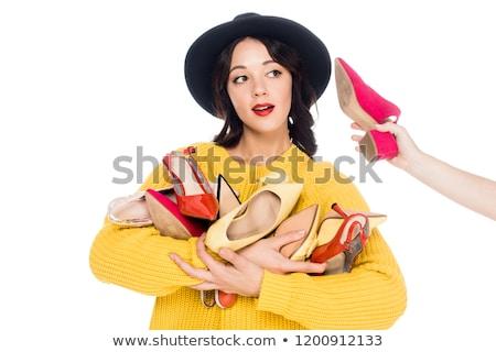 Vonzó lány halom cipők nő mosoly szexi Stock fotó © konradbak