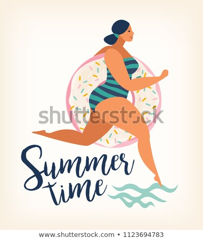 Pin up girl running in a sea Stock photo © Nejron
