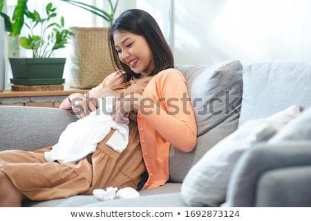 Stockfoto: Vrouw · planning · pasgeboren · baby · jonge · vrouw · denken