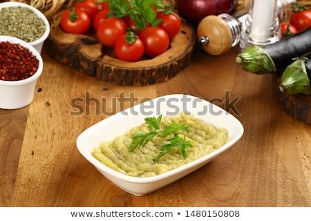 Berenjena naturaleza verde ensalada tomate blanco Foto stock © yelenayemchuk