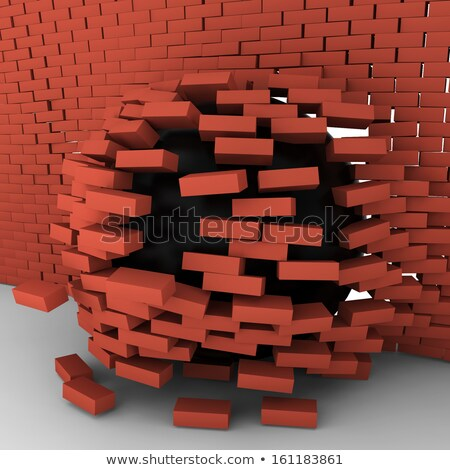 black ball moving through brick wall stock photo © montego