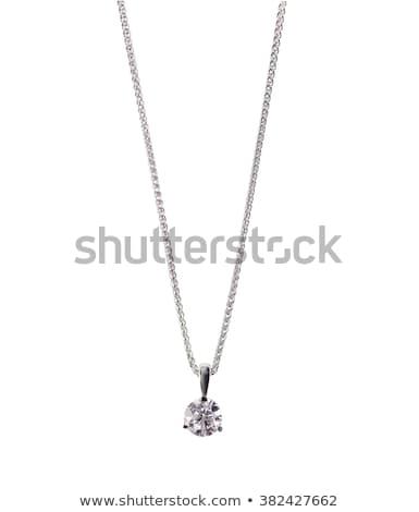 Silber · Kette · isoliert · weiß · Stahl - stock foto © taigi