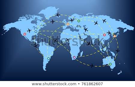 Blue abstract background with passenger plane and world map imag Stock photo © leonido