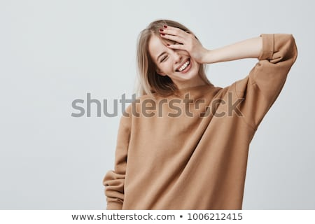 Positive Emotions. Delighted Attractive Woman Looking Up Stock photo © gromovataya