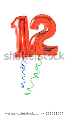 Red balloons with ribbon - Number 12 Stock photo © Zerbor