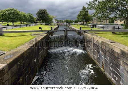 Foto stock: Pequeno · rio · escócia · chuvoso · dia · céu