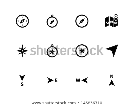 east direction compass icon on white background stock photo © tkacchuk