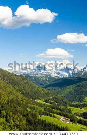 Hegy kilátás égbolt jég utazás sí Stock fotó © slunicko