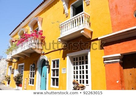 Hiszpanski kolonialny domu Karaibów charakter domu Zdjęcia stock © Perszing1982