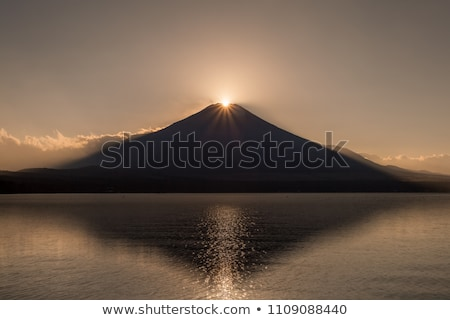 pôr · do · sol · inverno · lago · laranja · nascer · do · sol · nuvem - foto stock © vichie81