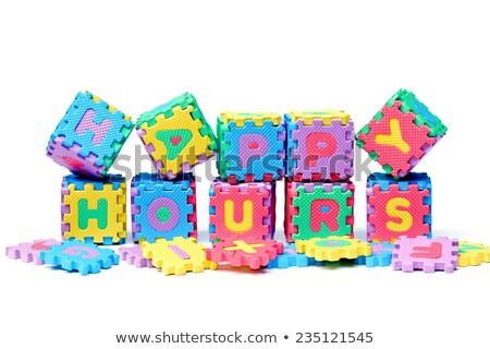 Stock photo: Happy Hours on Blue Puzzle.