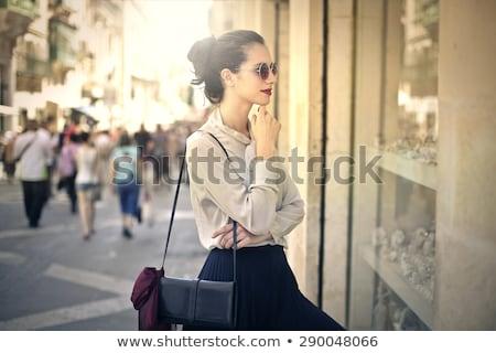 Nő ablak vásárlás tél hölgy drága Stock fotó © kasto