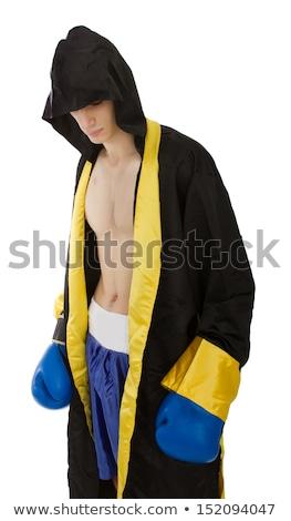 筋肉の 男 白 ボクサー ショートパンツ 下向き ストックフォト © stryjek