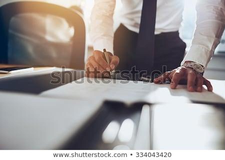 Uomo d'affari segno punto esclamativo faccia uomo Foto d'archivio © fuzzbones0