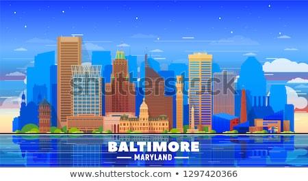 米国 水彩画 芸術 印刷 スカイライン 美しい ストックフォト © chris2766