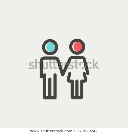 Kicsi testvérek vékony vonal ikon háló Stock fotó © RAStudio
