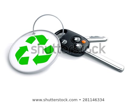 Set of car keys with keyring and recycle symbol. Concept for rec Stock photo © crashtackle
